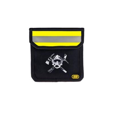 Чехол малый поясной для пожарного с логотипом (черный)