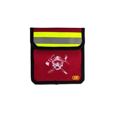 Чехол малый поясной для пожарного  с логотипом (красный)